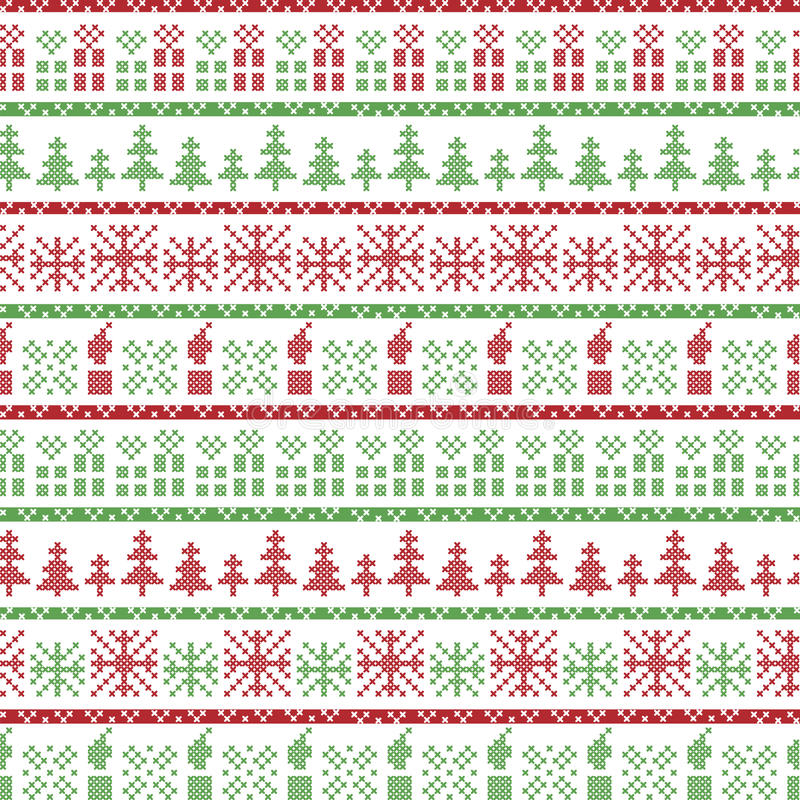 Download Green And Red Christmas Nordic Pattern In Including  Xmas Gifts, Candles, Snowflakes, Stars, Decorative Ornaments In Scandinavian Stock Vector - Illustration of background, candles: 59130252