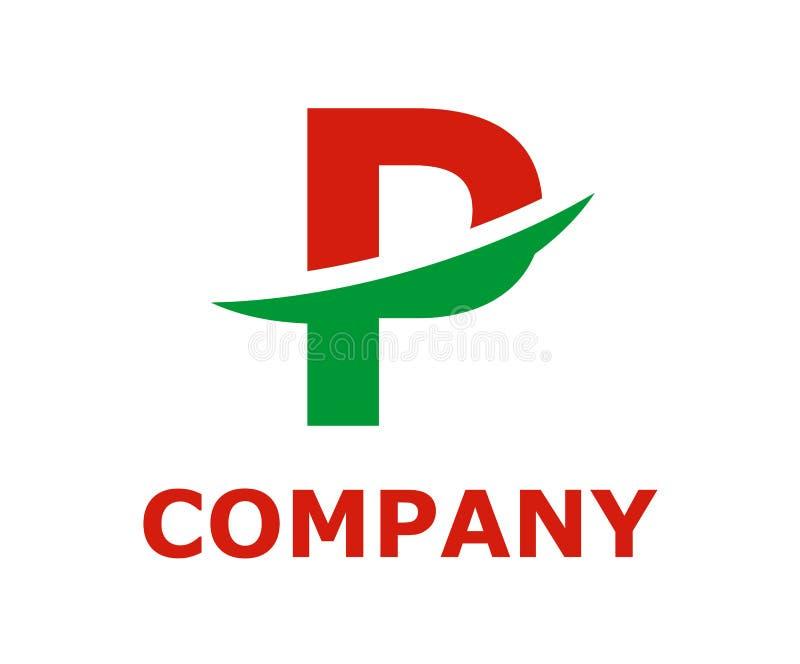 Slice alphabet logo p. Green and red color logo symbol slice type letter p by blade initial business logo design idea illustration shape for modern premium vector illustration