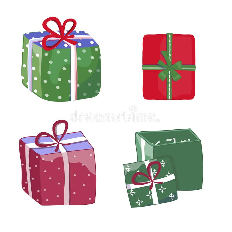 Green and red gift open box with a bow icon, special present idea. Flat design vector illustration. Celebration event, surprising royalty free illustration