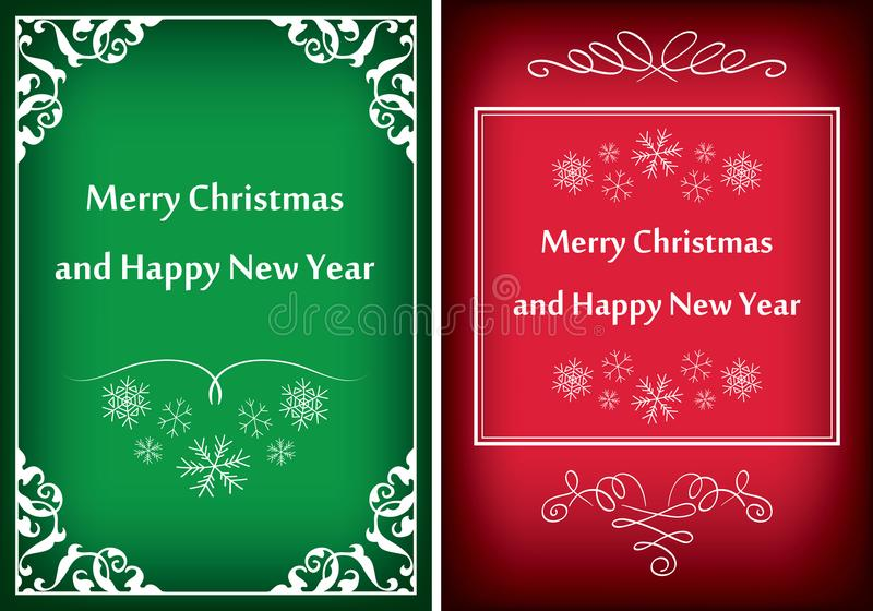 Green and red greeting cards for christmas - vector frames stock illustration