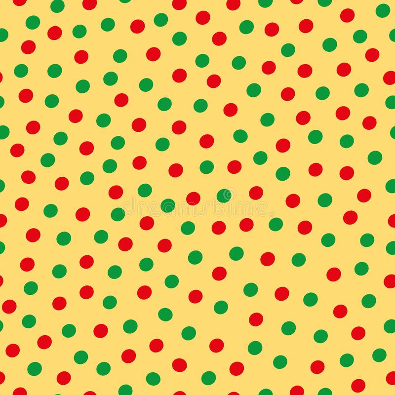 Green and red hand drawn scattered polka dot pattern on yellow background. Seamless vector design with modern vibe. Great for wellbeing, yoga, organic vector illustration