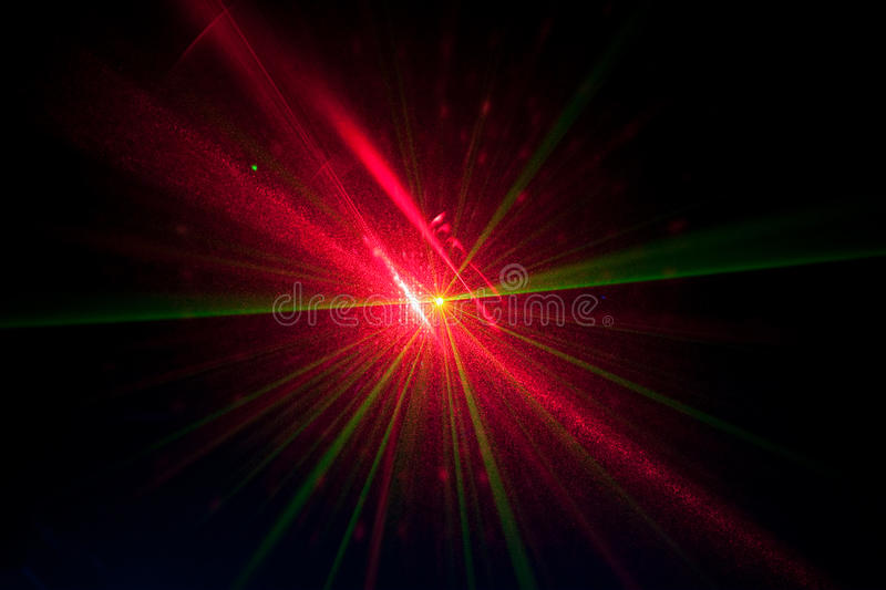 Green and red laser lights royalty free stock images
