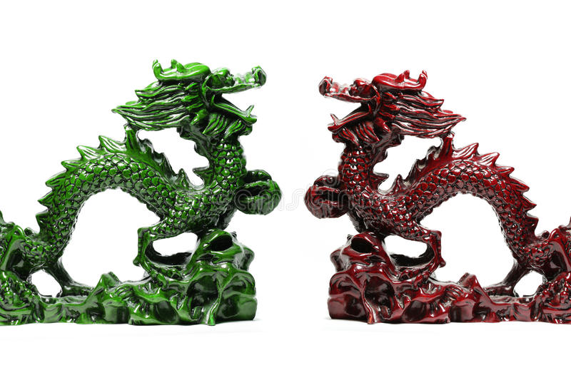 Green and red lucky dragon stock photos