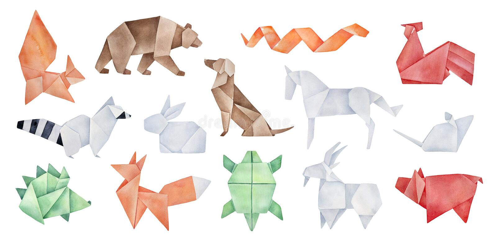 Big pack of various folded Origami Animals. vector illustration