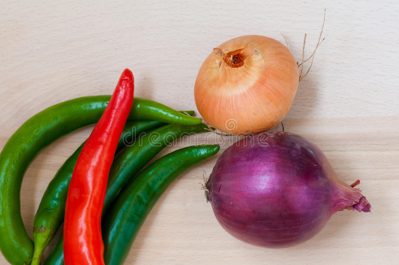 Green and red pepper, onion stock photography