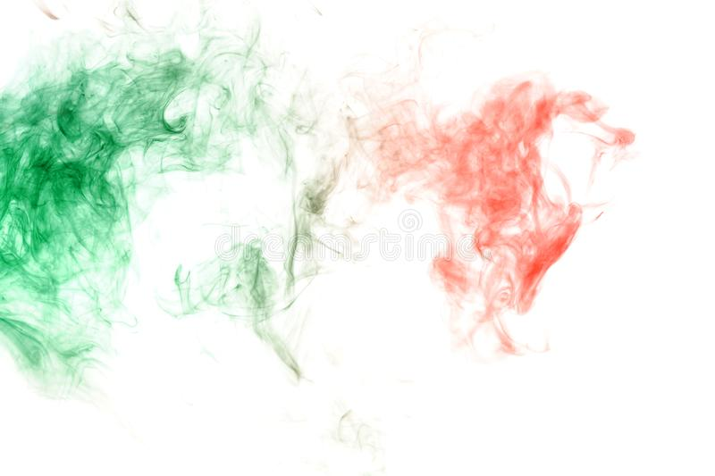 Green and red smoke on a white . Print for clothes. Disease and viruses. Green and red smoke on a white background. Print for clothes. Disease and viruses stock photo