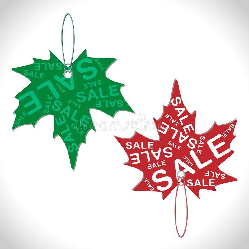 Green and red stickers with seasonal sales in the form of colorful maple leaves, the concept of seasonal discounts and doing royalty free illustration
