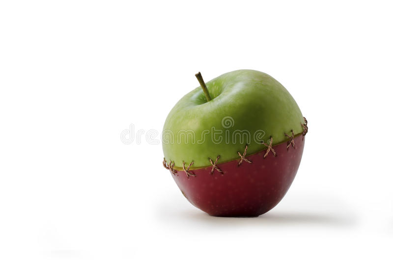 Green Red Stitched Apple royalty free stock images