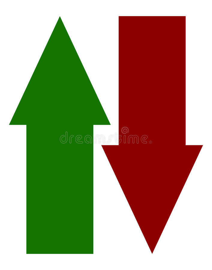 Green red up down arrow icons. Vertical arrows in opposite dir. Ection - Royalty free vector illustration stock illustration
