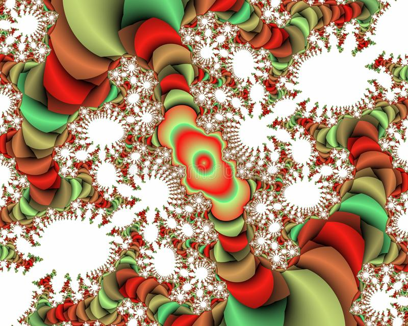 Green red white vivid fractal abstract background, flowery texture royalty free stock photos