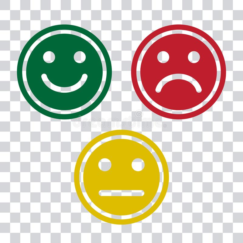 Green, red and yellow smileys emoticons icon on transparent background. Positive, negative and neutral, different mood. Vector. Illustration vector illustration
