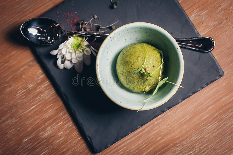 Green refreshing lime pistachio ice cream royalty free stock image
