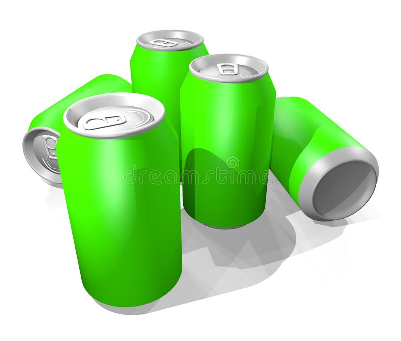 Green render cans royalty free illustration