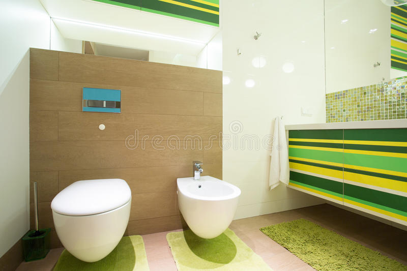 Green restroom. Spacious green restroom with porcelain toilet royalty free stock image