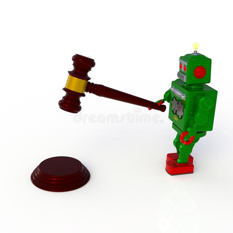 Green retro robot holding judge gavel 3d illustration isolated on a white background stock illustration