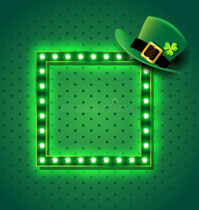 Green retro sign with St patrick hat stock illustration