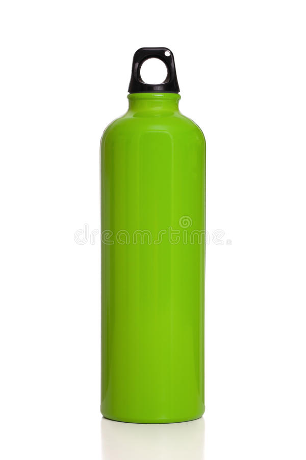 Green reusable water bottle isolated on white. A metal green reusable water bottle isolated on a white background royalty free stock images