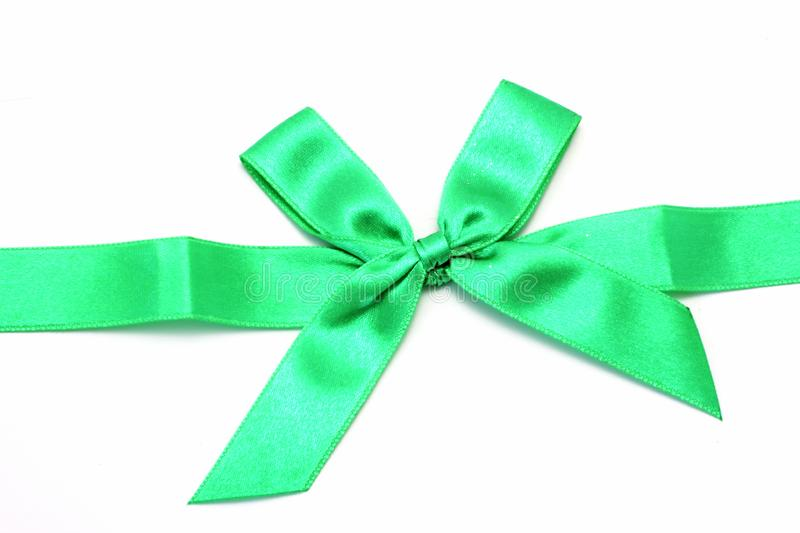 Green ribbon with bow royalty free stock photos