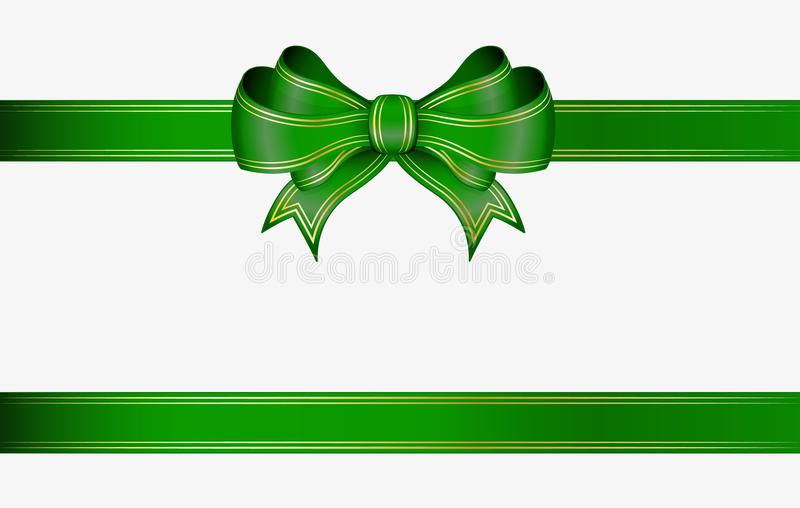 Green ribbon and bow vector illustration