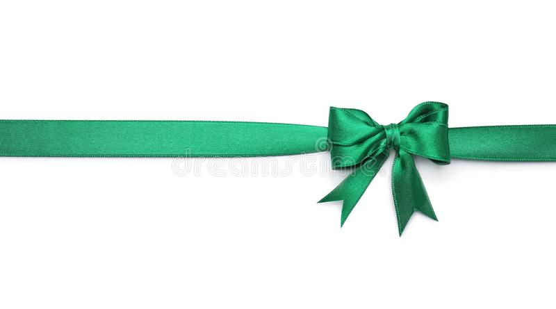 Green ribbon with bow royalty free stock image