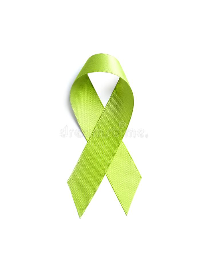 Green ribbon on white background, top view. stock image