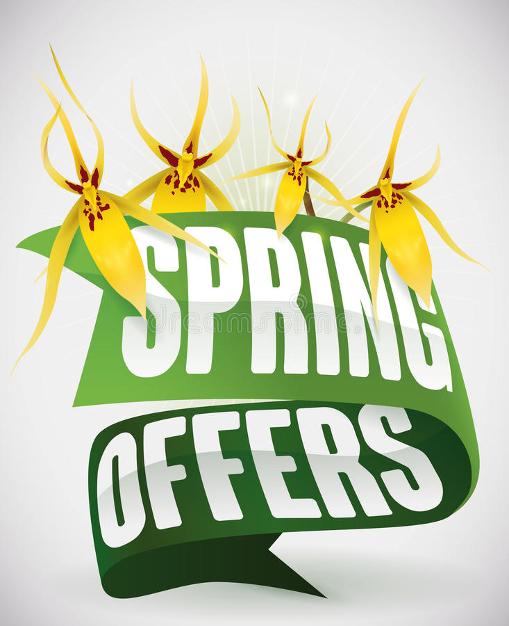 Green Ribbons and Yellow Orchids for Spring Offers, Vector Illustration royalty free stock image