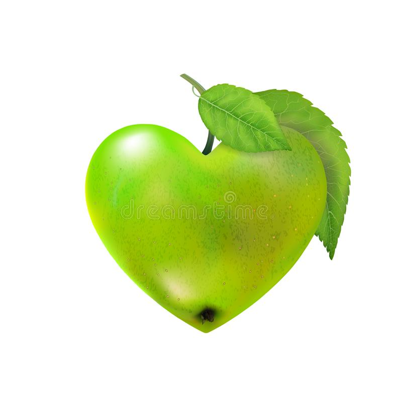 Green ripe apple heart isolated. Modern Valentines love. Beautiful fresh fruit. Vector illustration for advertising, packaging, ba. Nner, wallpaper. Trendy royalty free stock image