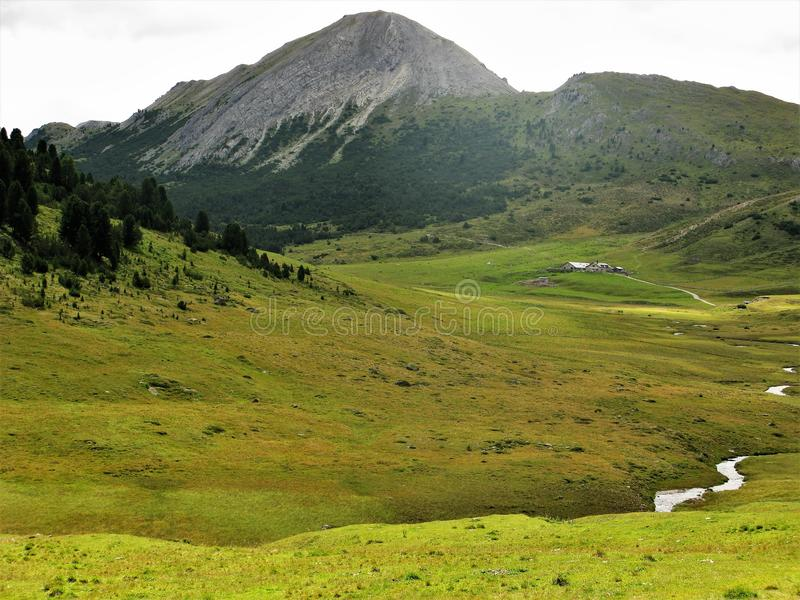 Lonely farm in a green valley in the Lower Engadine, Switzerland stock images