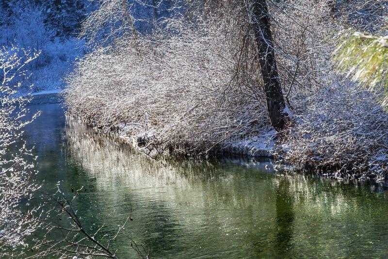 Green River Winter Snow Wenatchee River Leavenworth Washington royalty free stock photography