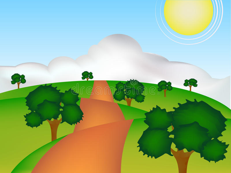 Download Green road stock vector. Image of skyline, path, object - 33358283