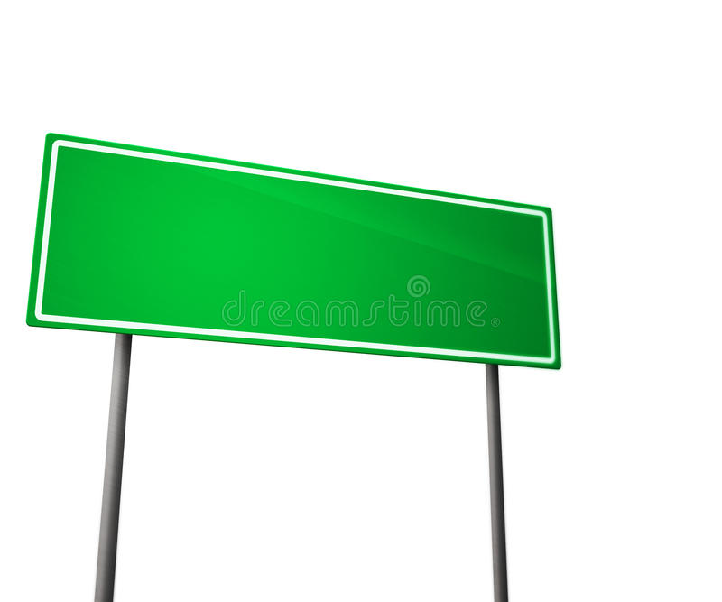 Green Road Sign Isolated on White stock image