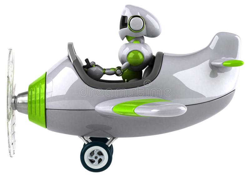 Green robot - 3D Illustration royalty free illustration