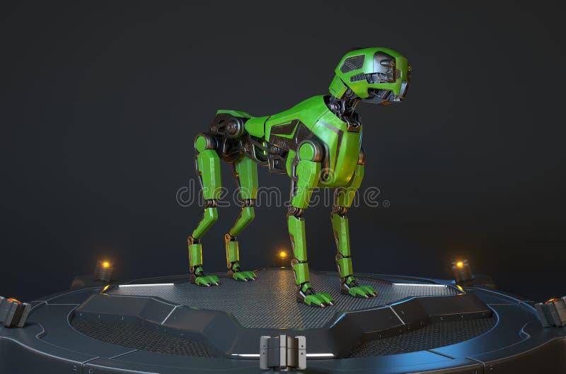 Green robot dog stands on a charging dock. 3D illustration vector illustration