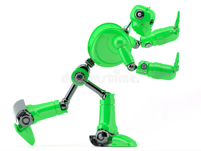 Green robot pushing an invisible object stock illustration