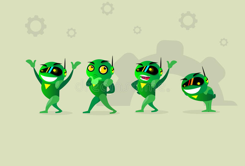 Green Robot Set Collection Emotional Technology. Flat Vector Illustration stock illustration