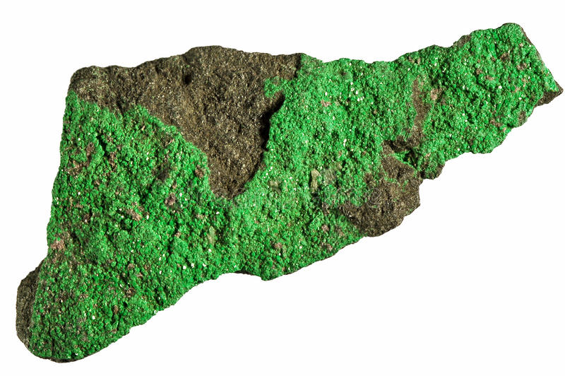 Green rock. Isolated on white background stock photography