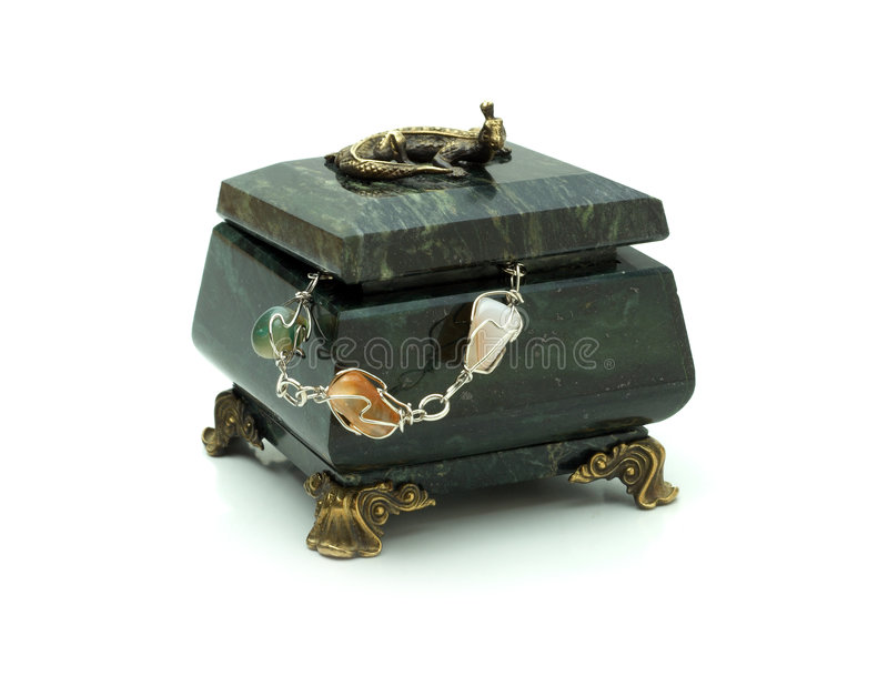 Download Green Rock's Small Box And Necklace Royalty Free Stock Photography - Image: 1824287