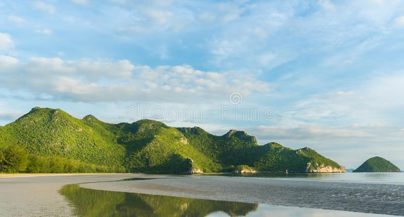 Rock or Stone Mountain or Hill at Bang Pu Beach Prachuap Khiri Khan Thailand 2. Green Rock or Stone Mountain or Hill and blue sky at Bang Pu Beach Prachuap Khiri stock photography