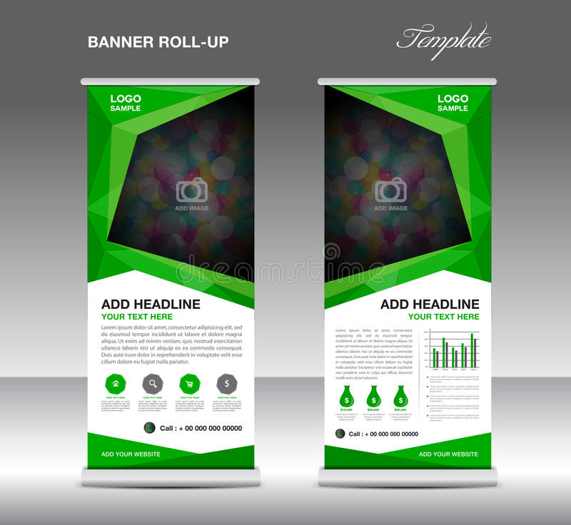 Green Roll up banner stand template, stand design,banner template,layout template vector illustration