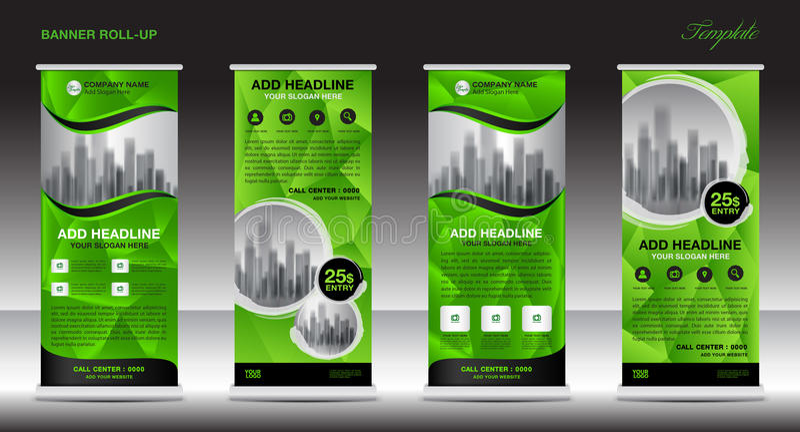 Green Roll up banner template, banner design, advertisement vector illustration