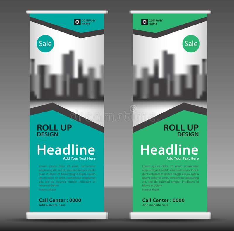 Green Roll up banner template, flyer layout vector, pull up, x-banner stock illustration