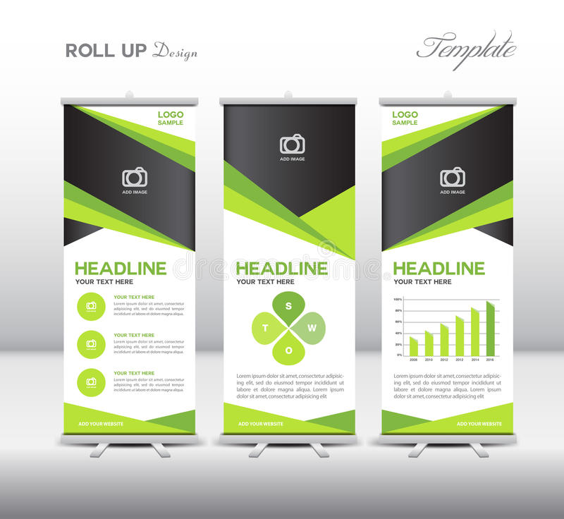Green Roll Up Banner template and info graphics, stand design,vector illustration royalty free stock photos