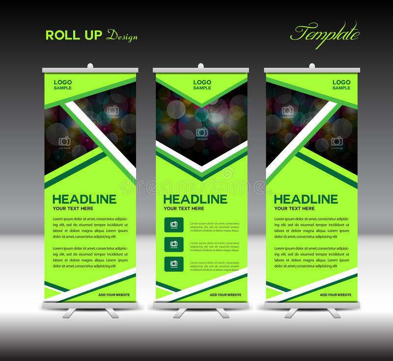 Green Roll Up Banner template, stand template design ,banner template,roll up display,advertisement,layout design royalty free illustration