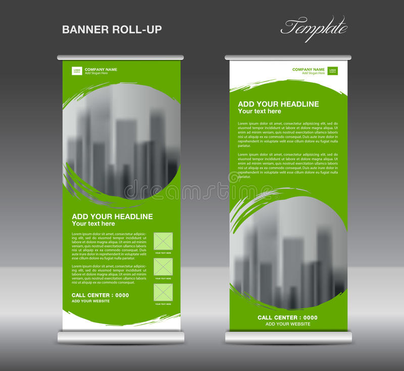 Green Roll up banner template vector, flyer, advertisement royalty free illustration