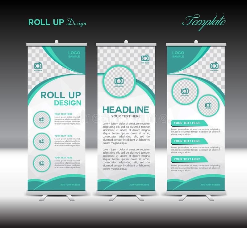 Green Roll Up Banner template vector illustration royalty free illustration