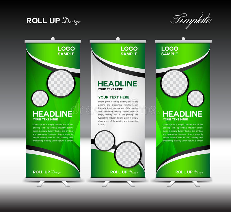 Green Roll Up Banner template vector illustration, roll up stand stock illustration