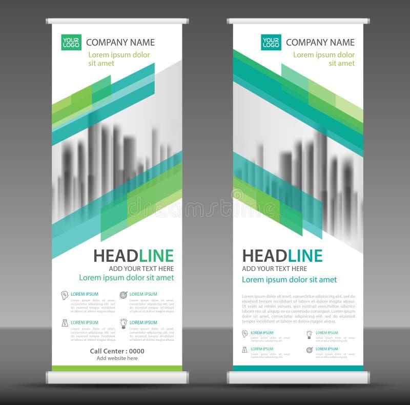 Green roll up business brochure flyer banner design template royalty free illustration