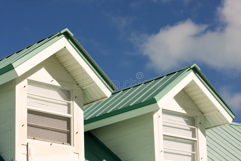 Green roof. Close up of house with green roof stock photo