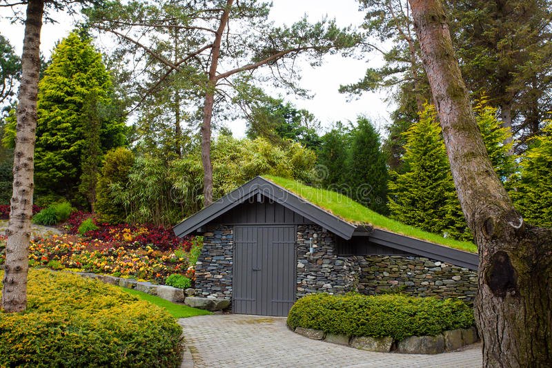 Green roof. A garden shed covered with a lovely green roof with lots of diverse types of plants royalty free stock images