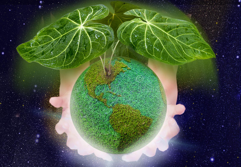 Green Roof for green planet. Green planet with roof of leaf over shining palm of hand. concept for green earth which protected by healthy atmosphere stock image